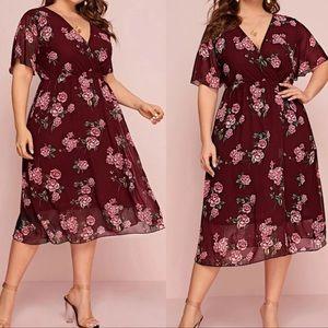Plus floral print A line dress burgundy